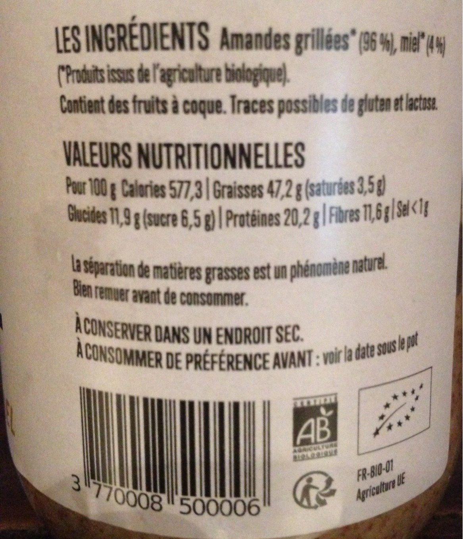 Pâte à tartiner Amande Miel - Nutrition facts