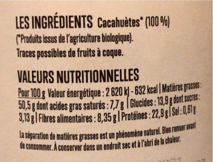 Beurre de cacahuètes - Nutrition facts - fr