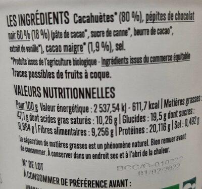 Go Nuts beurre de cacahuètes chocolat - Informazioni nutrizionali - fr