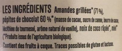 Pâtes à tartiner amande choco coco - Ingrediënten