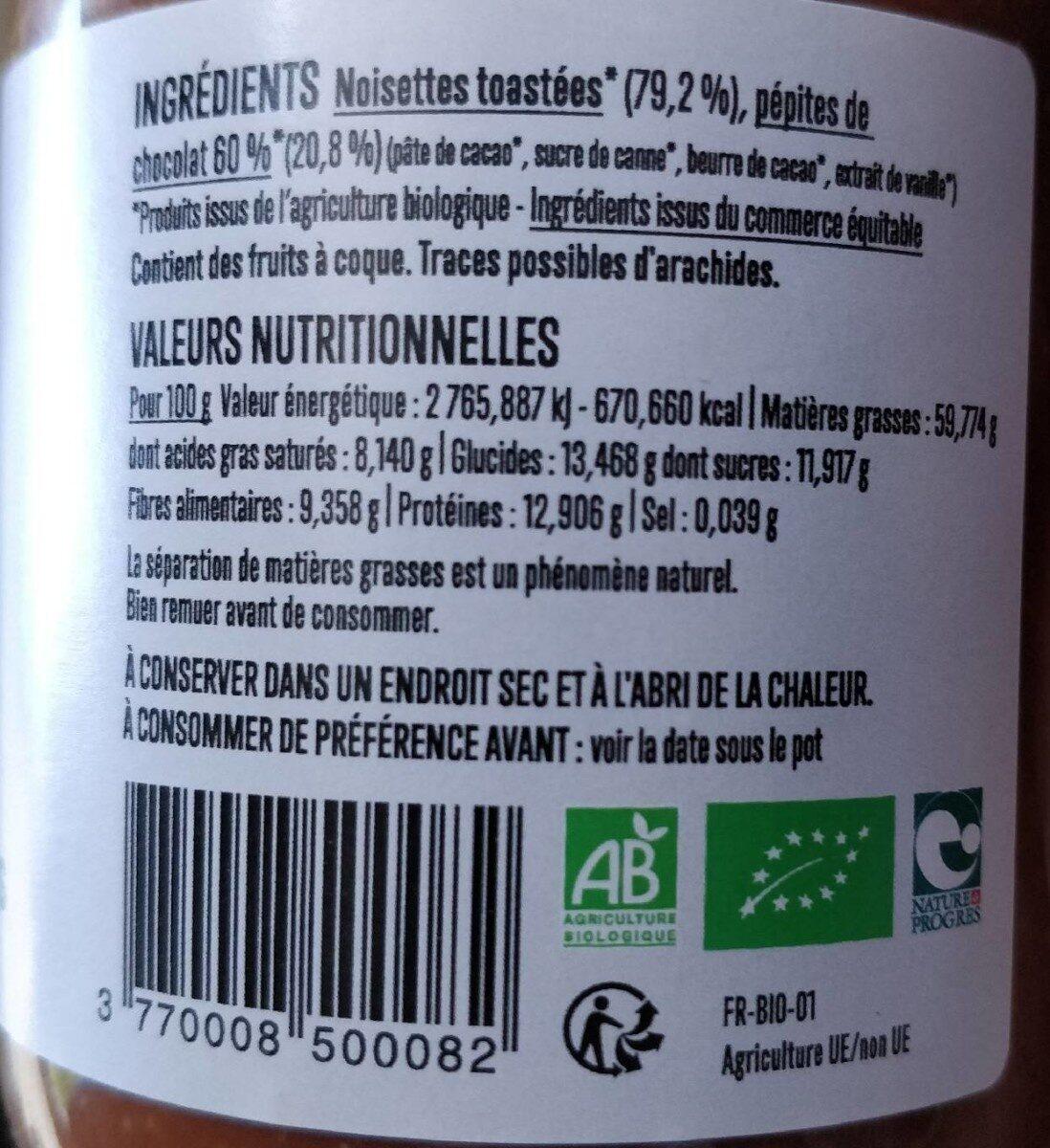 Pâte à tartiner Choco-noisettes - Informations nutritionnelles - fr