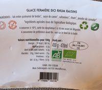 Glace bio au lait de brebis rhum raisin - Ingrédients - fr