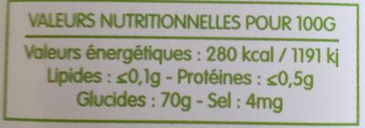 Sirop de fructose - Voedigswaarden