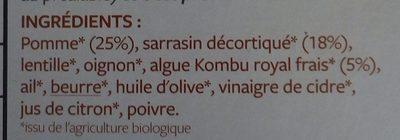 Poêlée Sarrasin pomme et algue Kombu royal - Ingrediënten - fr