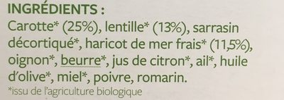 Poêlée Carotte, lentille et Haricot de mer - Ingrediënten - fr