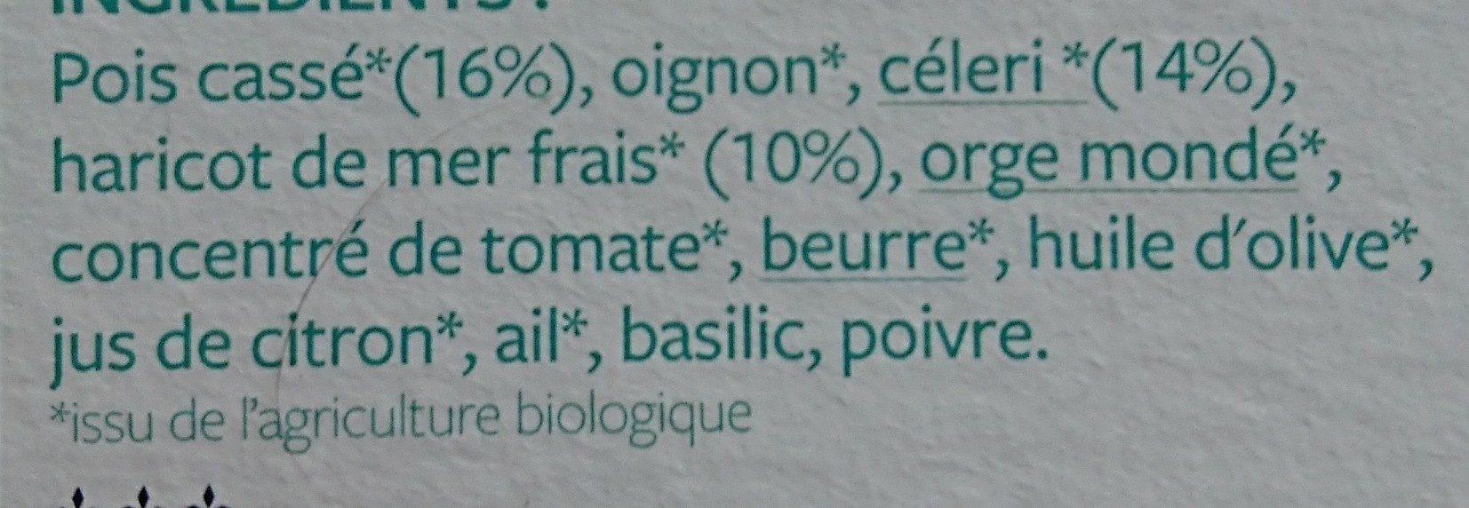 Poêlée Pois cassé, céleri et Haricot de mer - Ingrediënten - fr