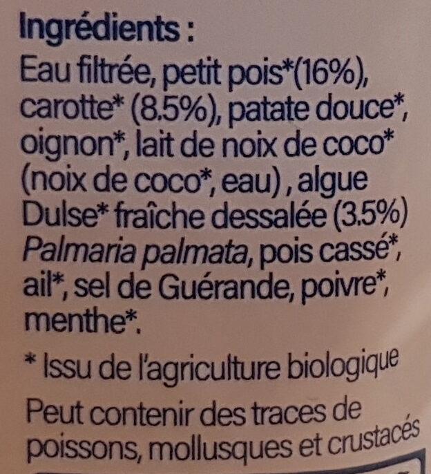 Soupe Petit pois, carotte et algue Dulse 1kg - Ingrédients - fr