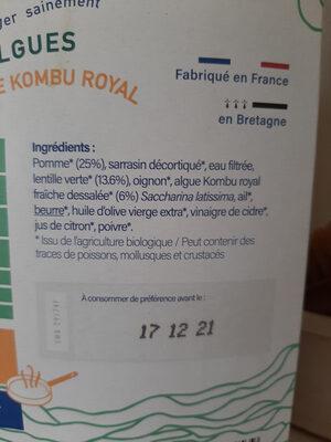 Poêlée Pomme, lentille et algue Kombu royal - Ingrediënten - fr