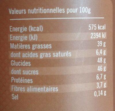 Pâte a tartiner - Nährwertangaben - fr