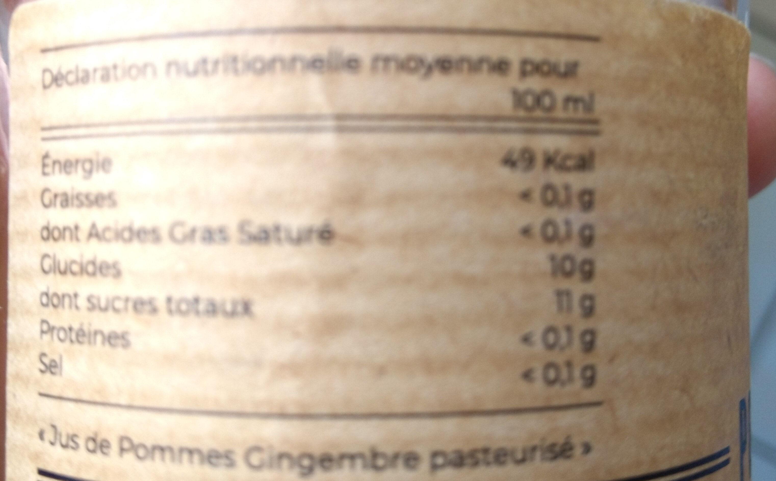 Jus de pomme gingembre - Valori nutrizionali - fr