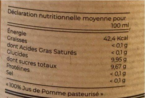 Jus de Pomme variétés anciennes - Informations nutritionnelles - fr