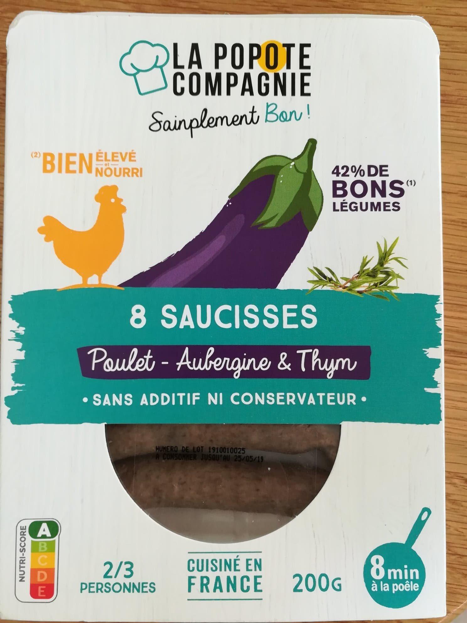 Saucisses Poulet Aubergine et Thym - Produit - fr