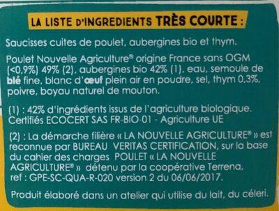 Saucisses Poulet Aubergine et Thym - Ingrédients