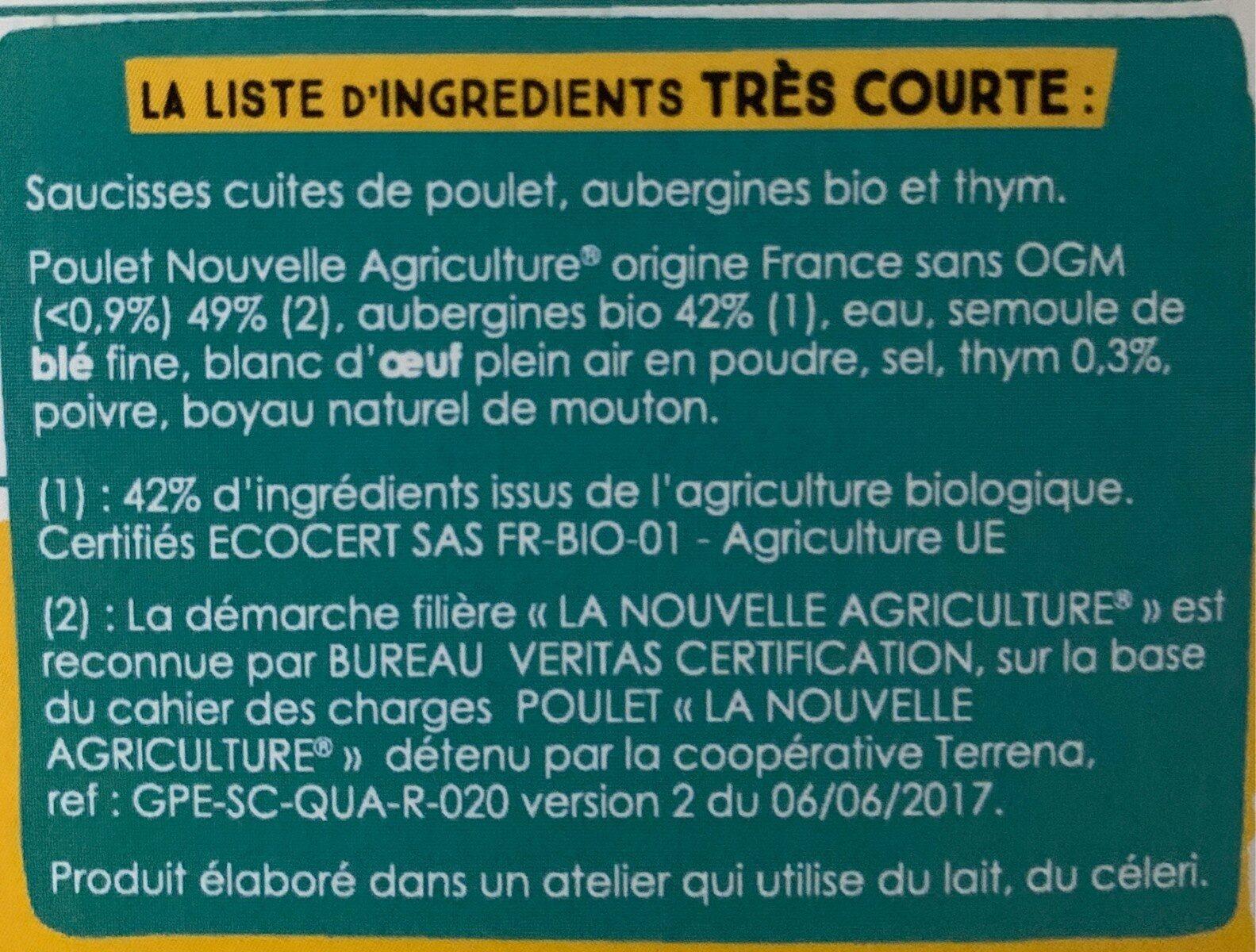 Saucisses Poulet Aubergine et Thym - Ingrédients - fr