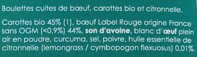 Boulettes Boeuf Carotte et Citronnelle - Ingrédients