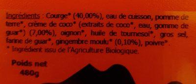 Velouté courge coco gingembre - Ingrédients - fr