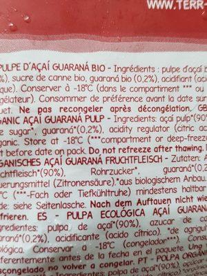 Pulpe açai-guarana bio - Ingrédients - fr