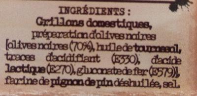 Grillons olives & pignon de pin - Ingrédients - fr