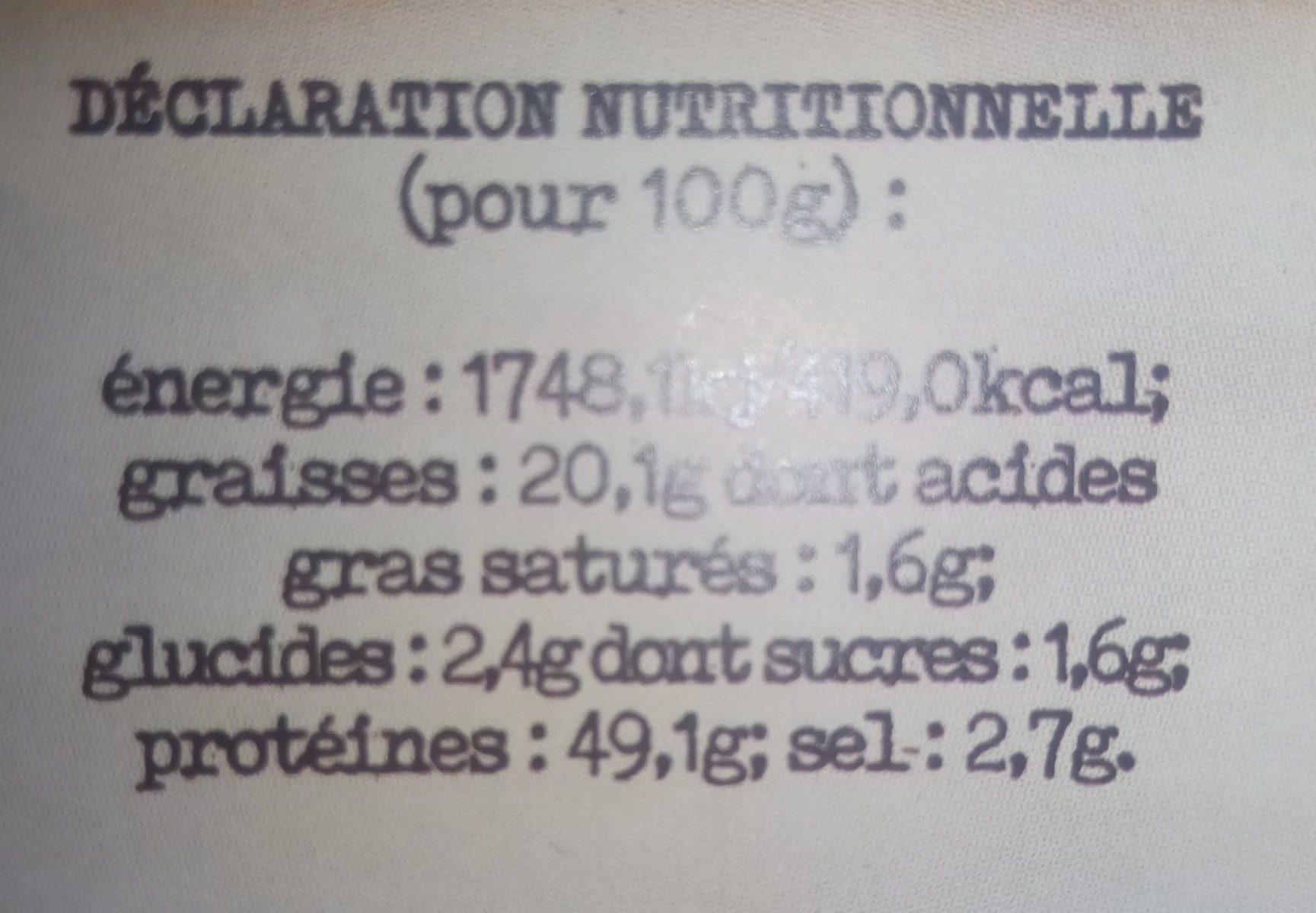 Grillons olives & pignon de pin - Informations nutritionnelles - fr