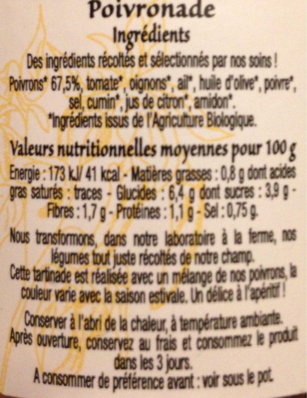 Poivronade - Voedingswaarden - fr