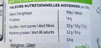 Soupe fraiche Légumes Verts - Informations nutritionnelles