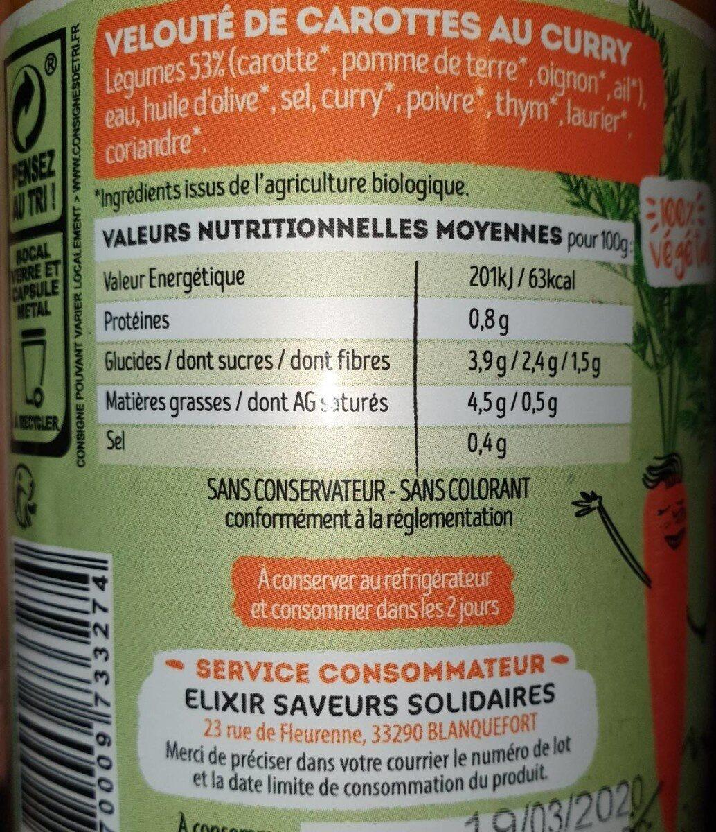Carottes au curry - Valori nutrizionali - fr