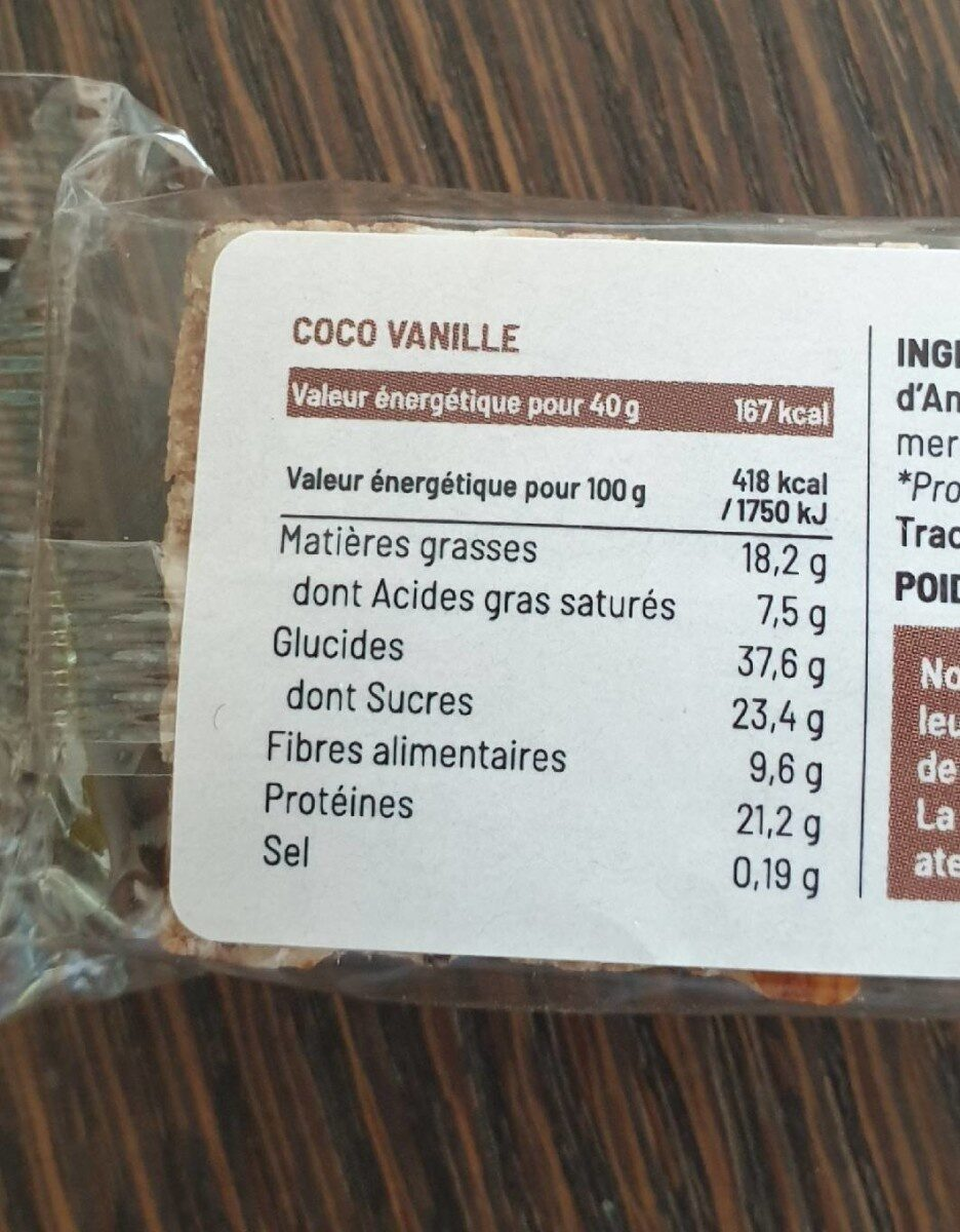 Barre Coco Vanille - Nutrition facts