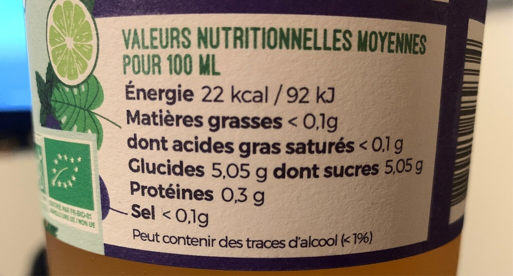 Kombucha Citron Vert Menthe - Informations nutritionnelles - fr