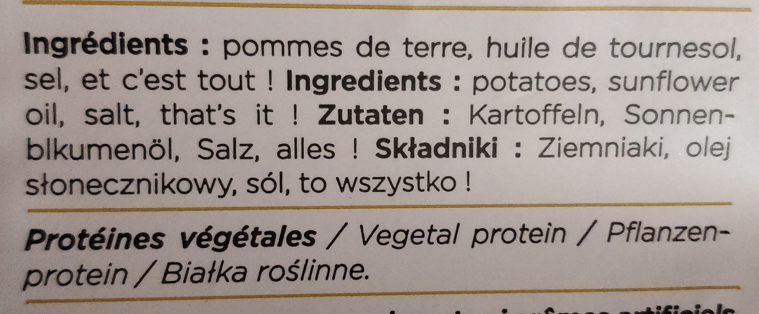 chips nature cuite au chaudron - Ingredients - fr