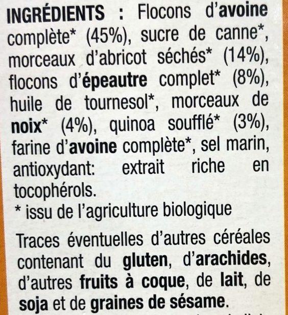 Mulesli abricot noix (350g) - Ingrédients - fr