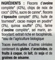 Mulesli coco cacao (350g) - Ingrédients