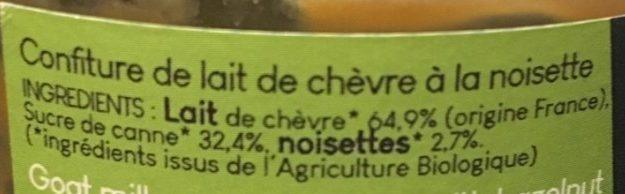Confiture de lait de chèvre à la noisette - Ingrédients - fr