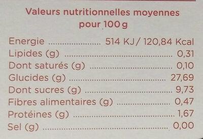 Dessert végétal framboise - Informations nutritionnelles