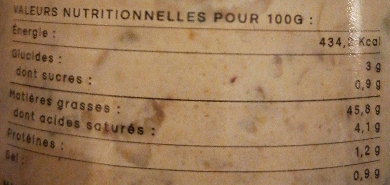 Tartare à ma sauce (sans œufs) - Informations nutritionnelles - fr