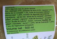 velouté  d'asperges avec les légumes du jardin - Ingrédients