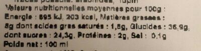 Glace Praliné Riz Soufflé Caramel - Nutrition facts