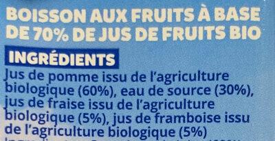 O'fruity Fraise Framboise Pomme - Ingredients - fr