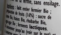 Yaourt Bio Fraise-Rhubarbe - Ingrédients