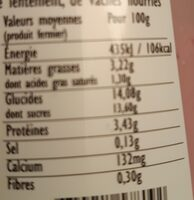 Yaourt brassé Bio Mûre sauvage - Nutrition facts