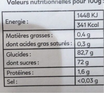Nutrivrai ananas - Informations nutritionnelles - fr