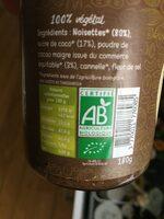 Tartinade noisette chocolat - Informação nutricional - fr