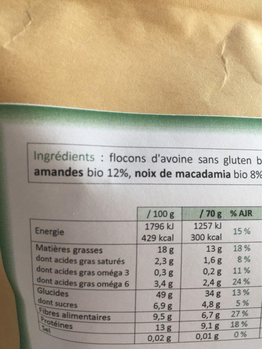 Muesli Aronia Amande Macadamia - Informations nutritionnelles - fr