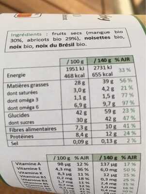 Box Mangue & Abricot - Voedingswaarden - fr