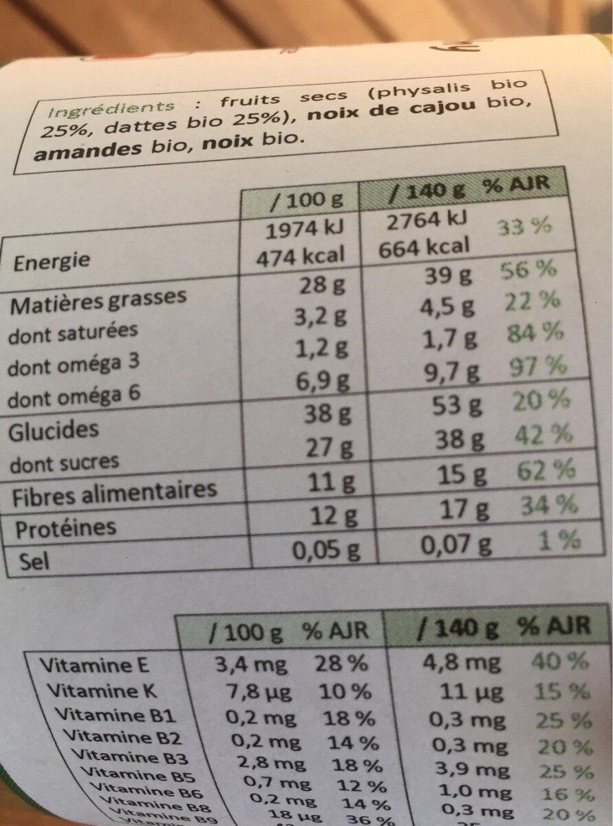Box Physalis & Datte - Voedingswaarden - fr