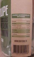 Soupe - Informations nutritionnelles