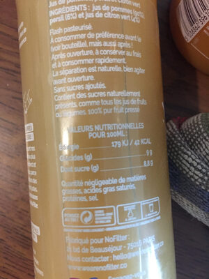 NoFilter Pomme Citron Persil - Informations nutritionnelles - fr