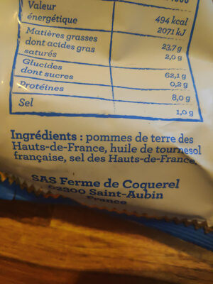 Chips artisanales - Ingredients - fr