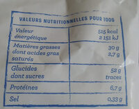 Chips artisanales - Nutrition facts - fr