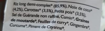 Riz sauté à l'indienne, noix de coco, carottes, petits pois - Ingredients - fr