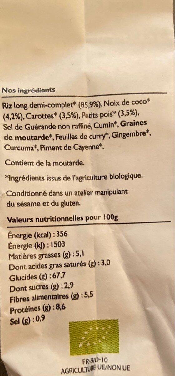 Riz sauté à l'indienne, noix de coco, carottes, petits pois - Nutrition facts - fr